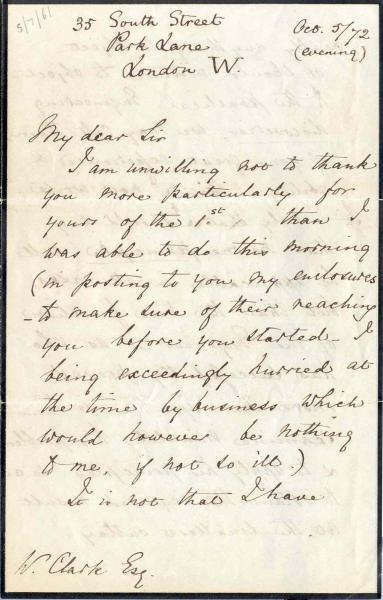 Image 1 of letter to William Clark 5 October 1872