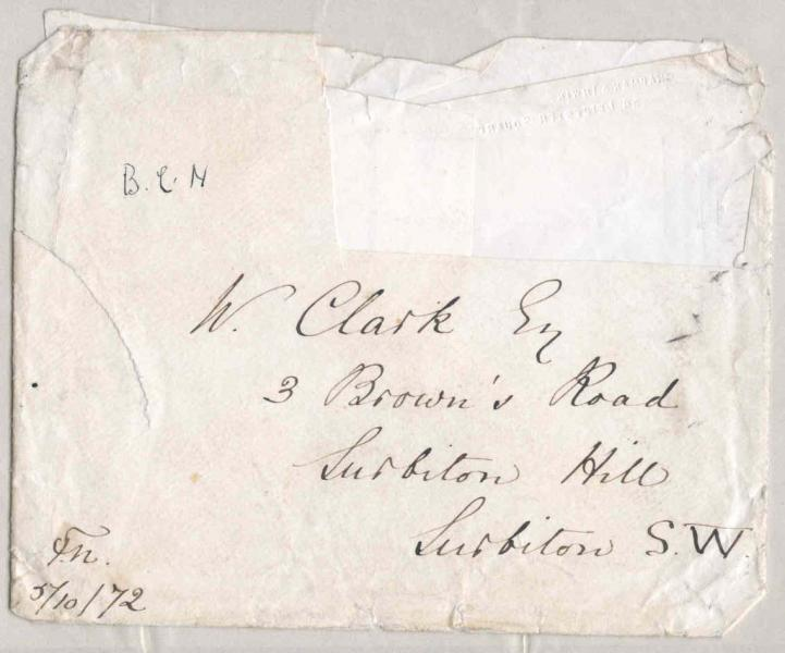 Image of the front of the envelope for 5 October 1872 letter