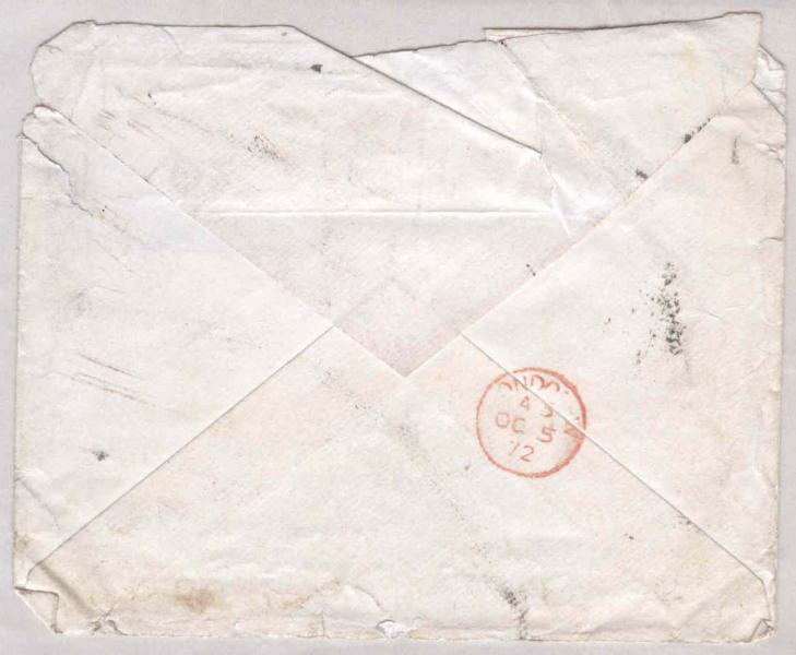 Image of the back of the envelope for 5 October 1872 letter