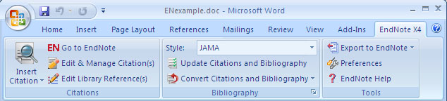 EndNote tab in Microsoft Word