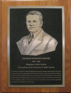 Plaque dedicated to Charles Edmund Kistler