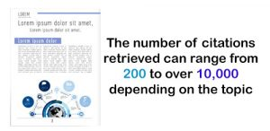 Image of journal with caption the number of citations retrieved can range from 200 to over 10,000 depending on the topic.