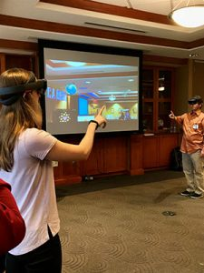 Image of students using the Microsoft Hololens at the HSL.