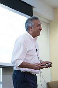 Javed Mostafa speaking at the Digital Health Symposium