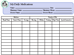 My Daily Medications Chart