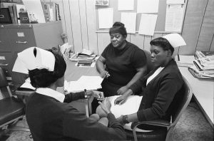 Nurses meeting at the Delta Health Center, a community-controlled clinic in Mound Bayou, MS, 1968