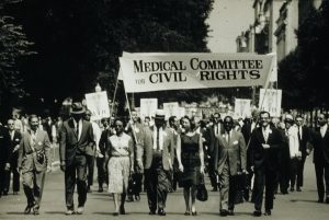 Medical Committee for Civil Rights participates in the March on Washington for Jobs and Freedom, 1963