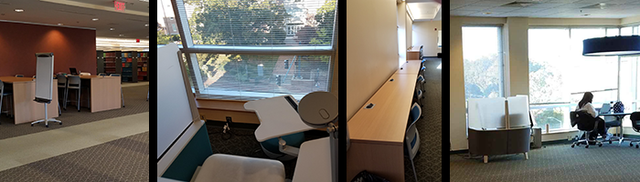 Study spaces on the fourth floor