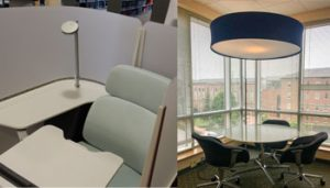 Study spaces on the fourth floor of the HSL