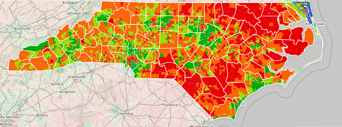 Data map showing health literacy rates in NC