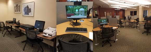 Study spaces located on the first floor of the HSL